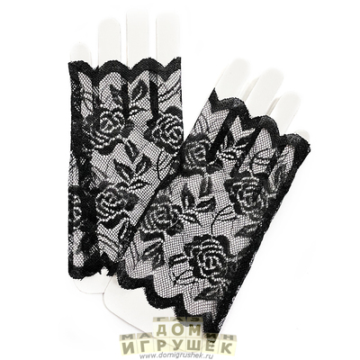 Длинные чёрные кружевные перчатки станут прекрасным дополнением для маскара